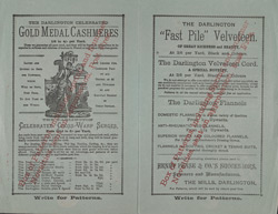 Advert for Henry Pease & Co, reverse side